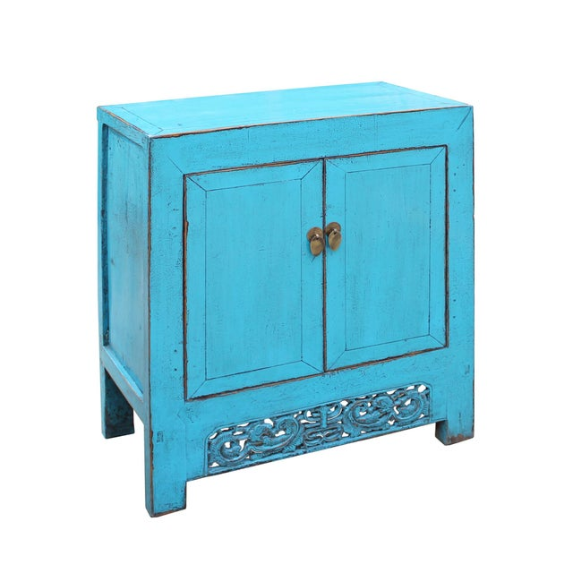 Chinese Distressed Rustic Bright Turquoise Blue Foyer Console Table Cabinet For Sale - Image 4 of 9