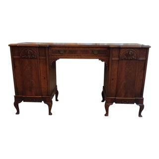Early 20th Century Vintage Block Front Kneehole Desk For Sale