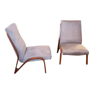 1960s Pair of Sculptural Italian Lounge Chairs in Velvet Cotton For Sale