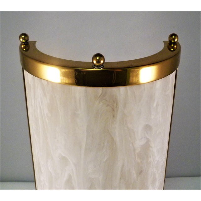Up for sale a vintage Baldinger Architectural Lighting half cylinder sconce with a marbleized, milky white resin shade...