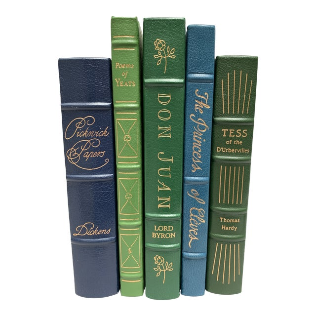 Easton Press Vintage Leatherbound Books, Blue and Green - Set of 5 For Sale