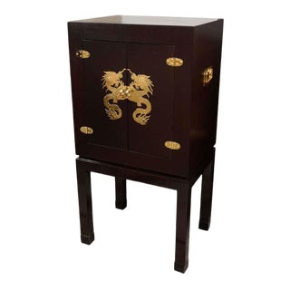 Asian Motif Drybar Cabinet For Sale