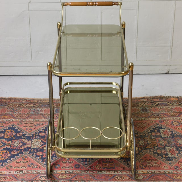 Brass Bar Cart With Glass Shelves - Image 9 of 11