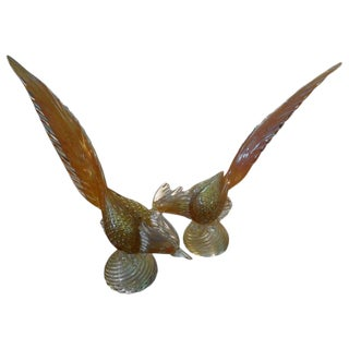Vintage Salviati Style Murano Glass Pheasant Figures-A Pair For Sale