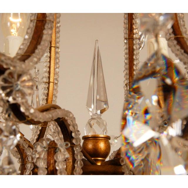 Metal 1970s Mid-Century Hollywood Regency Italian Design Crystal Beaded Chandelier For Sale - Image 7 of 13