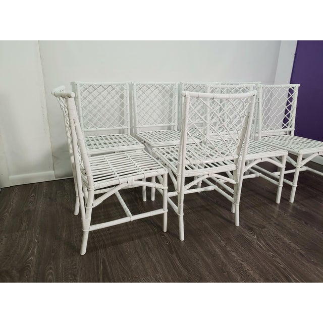 1940s Ficks Reed Diamond Patterned Rattan Chairs - Set of 8 For Sale - Image 5 of 6