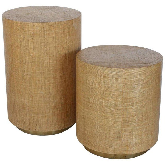 Karl Springer Style Modern Grasscloth and Brass Side Tables For Sale In Chicago - Image 6 of 6