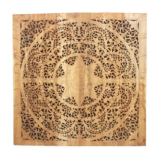 Natural Teak Large Lotus Panel For Sale