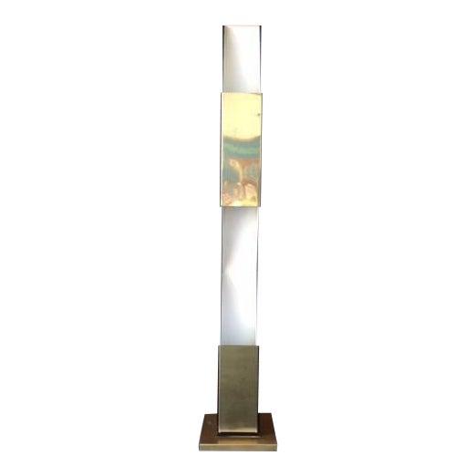 Vintage Sculptural Gold & Black Floor Lamp - Image 1 of 8