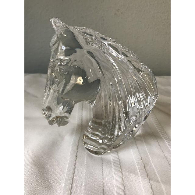 1990s Vintage Waterford Crystal Horse Head Paperweight Decorative Figure For Sale - Image 9 of 9