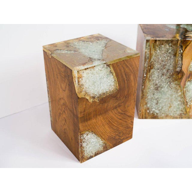 Tan Pair of Organic Modern Bleached Teak Wood and Resin Side Tables For Sale - Image 8 of 13