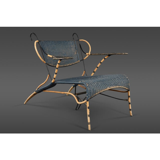 Black Sculptural Italian Black and Natural Wicker Chair Over a Steel Frame For Sale - Image 8 of 8