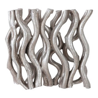 Phillips Collection Silver Leaf Vine Wall Tile For Sale