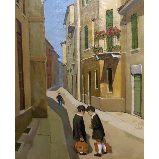 Italian Lucio Sollazzi - School Boys at Play - Signed Italian Oil Painting C.1960s For Sale - Image 3 of 9