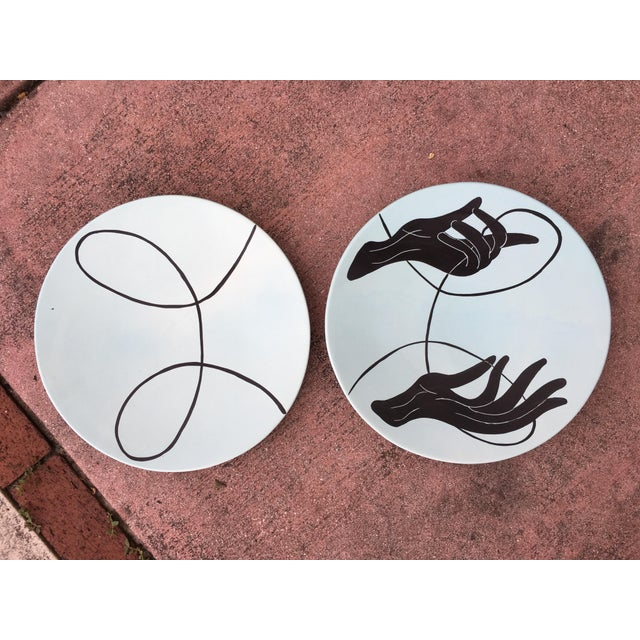 Abstract 1990's Vintage Global Views Hand & Yarn Plates- A Pair For Sale - Image 3 of 11