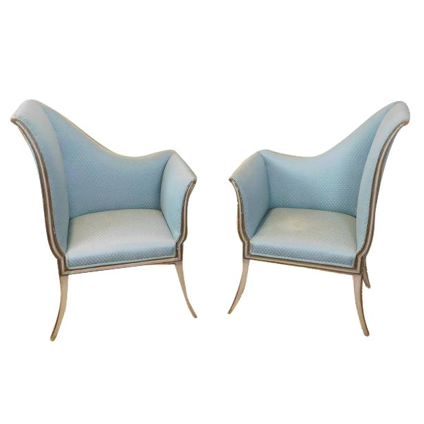 Mirrored French Louis 1950s Hallway Chairs - Pair - Image 1 of 9