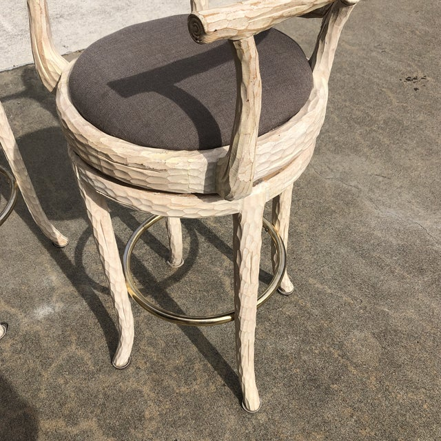 Hollywood Regency Hollywood Regency Faux Bois Cream Caned Swiveling Stools** - a Pair For Sale - Image 3 of 7