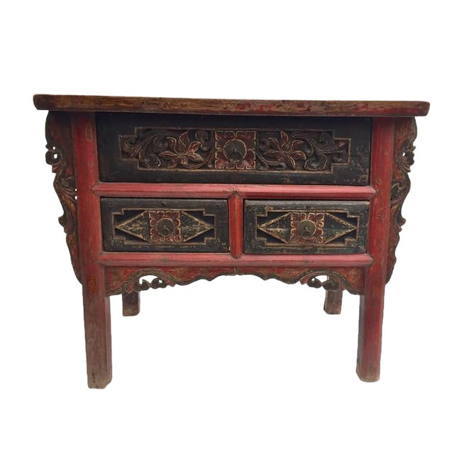 Antique Tibetan Altar Console Table 3 Drawer Chest For Sale