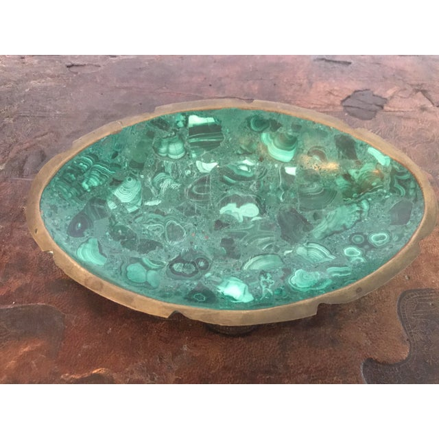 Malachite and Brass Ashtray Catchall For Sale - Image 10 of 10