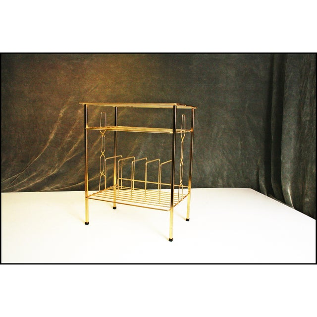 Mid-Century Modern Gold Record Rack - Image 4 of 11