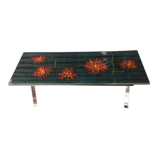 1960s Bold Vallauris Tile Low Table For Sale