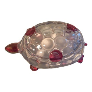 Vintage Pink & Clear Glass Turtle Lidded Box