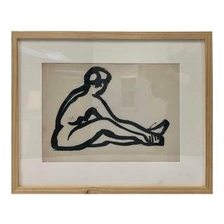Tasteful Nude Study on Paper Framed For Sale