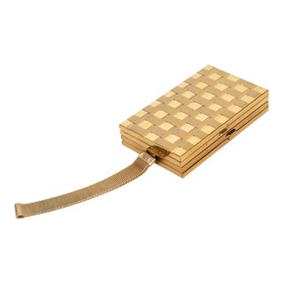 1950's Vintage Gold-Tone Evening Clutch For Sale