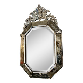 Hollywood Regency Venetian Glass Etched and Beveled Wall Mirror For Sale