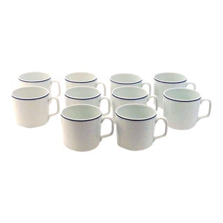 Georges Boyer Limoges France White and Blue Mugs- Set of 10
