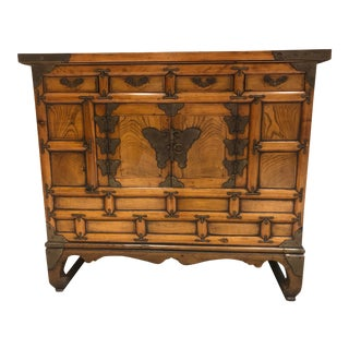19th Century Korean Asian Butterfly Brass Side Chest For Sale