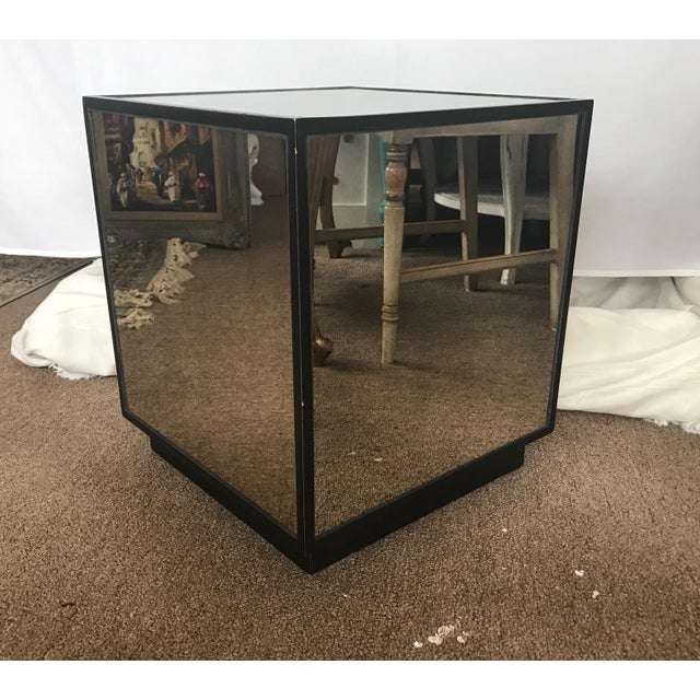 Ralph Lauren Style Antiqued Glass Cube Side Table - Image 4 of 7