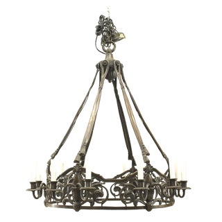 19th-20th Century French Victorian Bronze Patina Chandelier For Sale