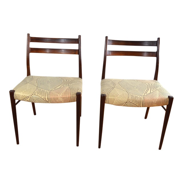 Arne Wahl Iversen Rosewood Dining Chairs - a Pair For Sale