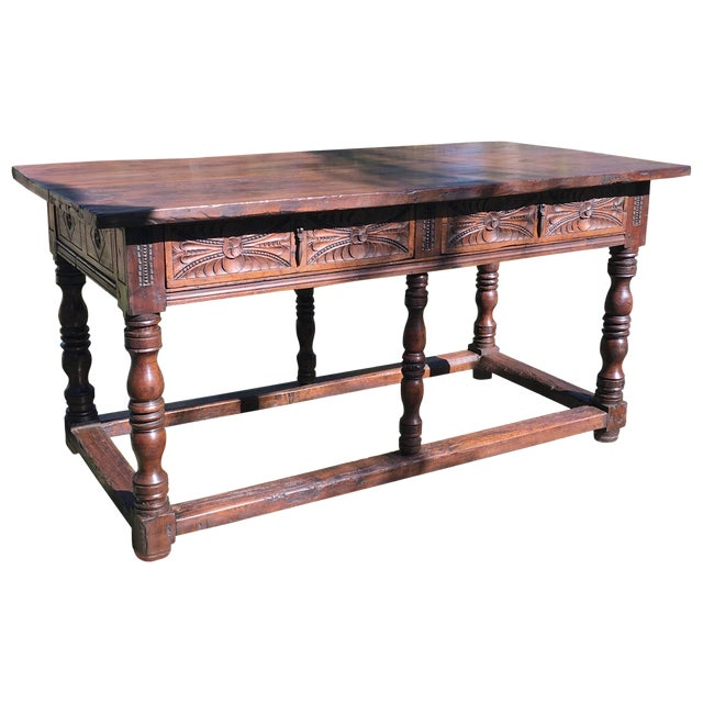 17th Century Spanish Refectory Table or Farm Table With Drawers For Sale