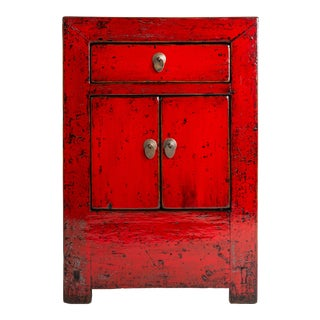 Chinese Red Lacquer Cabinet With a Drawer and Pair of Doors For Sale