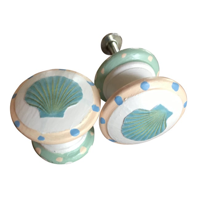 Scallop Shell Hand Painted Decoupage Knobs - A Pair For Sale