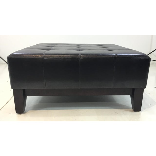Transitional Tufted Espresso Leather Cocktail Ottoman For Sale In Atlanta - Image 6 of 6