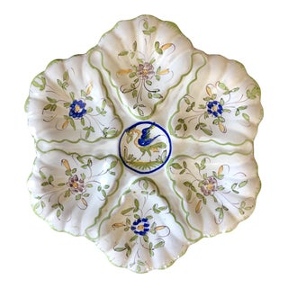 Vintage French Faience Majolica Oyster Plate