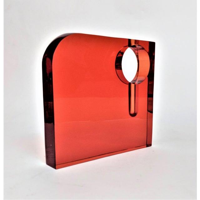 Orange Lucite Bud Vase For Sale - Image 10 of 11