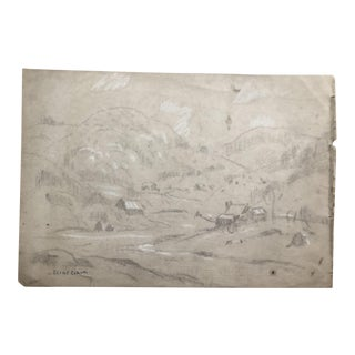 1930s Vintage Eliot Clark Plein Air Hilly Valley Landscape Drawing For Sale
