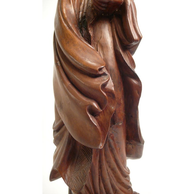 Gold Hand-carved Teak Asian Lamp For Sale - Image 8 of 9