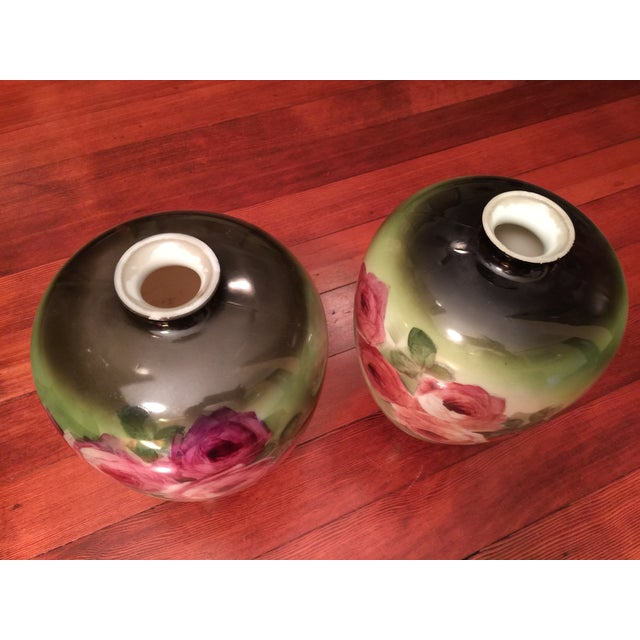Vintage Porcelain Vases, Green With Roses - a Pair - Image 5 of 6