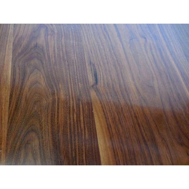 Black Custom Walnut Wood Side Table With Custom Hand Forged Vine Base For Sale - Image 8 of 8