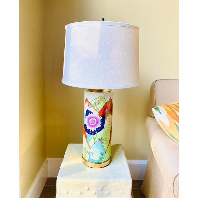 1980s Porcelain Tobacco Leaf Table Lamp For Sale - Image 4 of 13