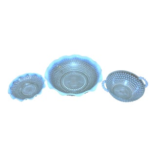Vintage Fenton Moonstone Dishes - Set of 3 For Sale