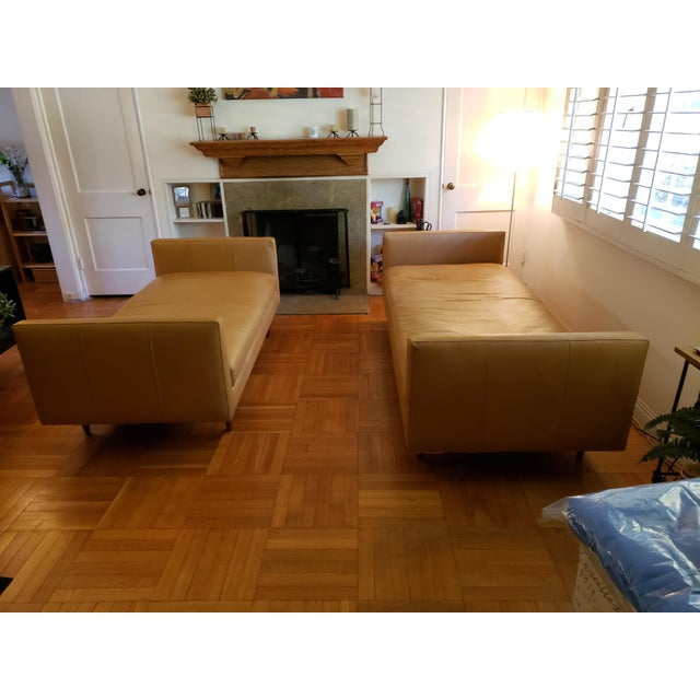Room & Board Tan Classic Leather Sofas - A Pair For Sale In Los Angeles - Image 6 of 9