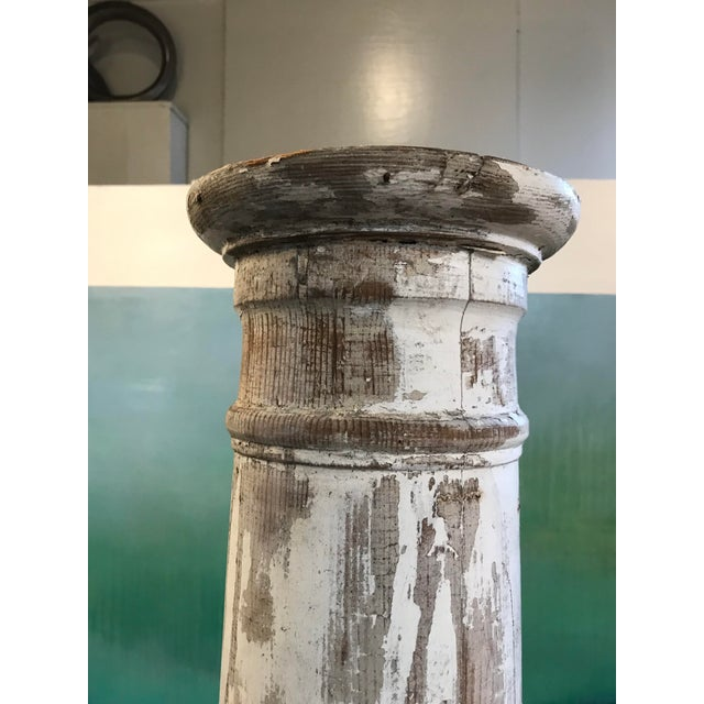Antique Pine Column in Whitewash For Sale - Image 4 of 11