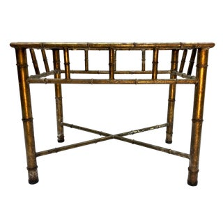 Boho Chic Regency Metal Faux Bamboo Glass Top Side Table For Sale