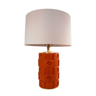 Orange Table Lamp With Linen Shade For Sale